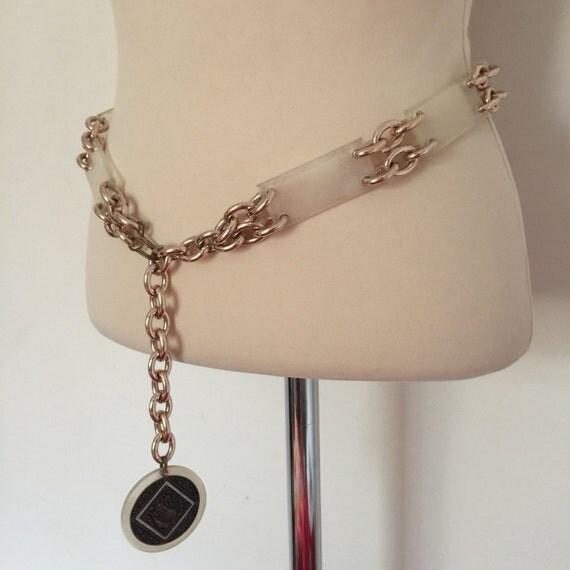 1960s chain belt opaque plastic circular metal link hipster belt twiggy GoGo rose gold bird coin 1970s