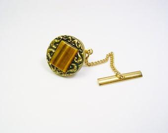 Vintage Tie Tack / Tie Pin, Tiger's Eye Stone, gold tone, Men Wedding Jewelry, Tie Accessory, Tie Tac, Mens Accessories, Groomsman Gift