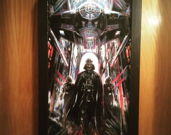 """Hand Painted IMPERIAL DOCKING BAY Star Wars Acrylic Painting on Hardboard 14"""" x 26"""" Darth Vader"""