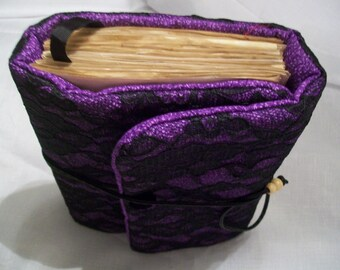 Fabric journal purple and black.  Vintage style coffee aged paper.