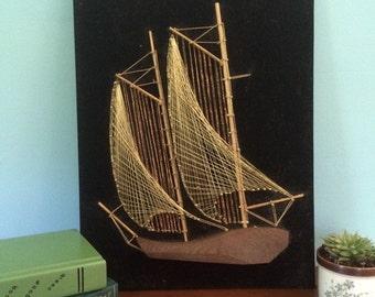 """Nail and String Art Mixed Media Art, Sailboat on Black Velvet, 16.5"""""""