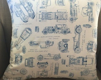 "Cushion Cover/Pillow in Robert Kaufmann ""Vintage Blueprints"". Cover to fit a 45cm or 18inch insert."