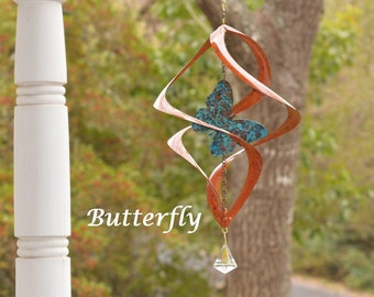 BreezeWay Butterfly Wind Spinner | Hanging Copper Wind Art w/ Patina Coloring & Glass Prism | 2 Sizes | Solid Copper | Handcrafted in TX