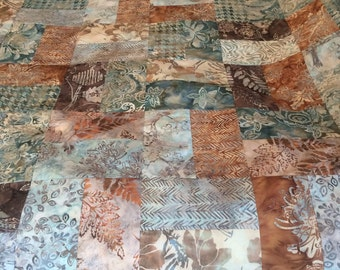 Reduced Beautiful Batik Quilt Top 48x60