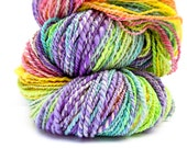 308 yards 7.6 oz of super wash merino handspun yarn, next to skin soft. 2 ply aran to bulky weight yarn hand spun