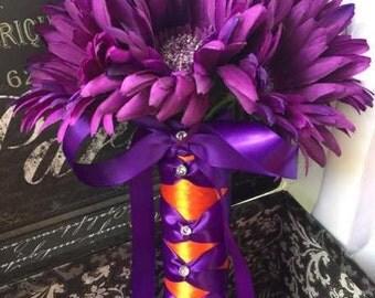 Purple Daisy Wedding Bouquet, Fall Wedding Bouquet, Orange Plum Bouquet, Purple Orange Bouquet, Purple Daisy Bouquet, Fall Bridal Bouquet