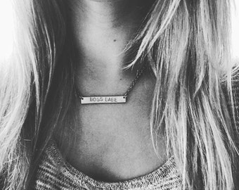Silver Necklace hand stamped BOSS BABE