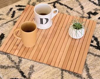 Natural Sofa Tray Table Flexible Wood Slats