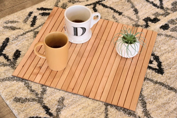 Natural sofa tray table flexible wood slats - Table console pliable ...