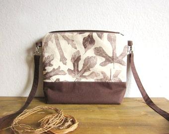 Crossbody brown bag, Hand printed leaves, canvas bag, Every day bag, Hand printed fabric, leaves stamp, middle size bag, natural handbag