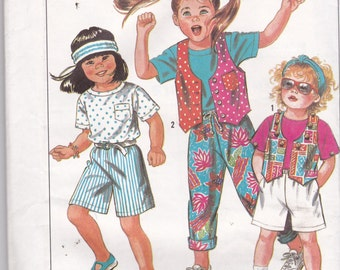 Simplicity 9680 Vintage Pattern Childrens Pants, Shorts, Lined Vest and Top Size 3,4,5,6,6x UNCUT