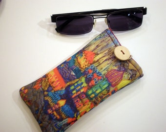 Fabric sunglass case, Soft eyeglass case, Case for sunglasses, Quilted eyeglass case
