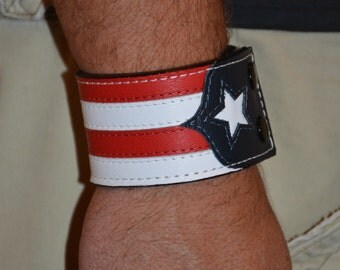 Hand Crafted Leather Patriotic Cuff/Bracelet