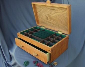 WOOD JEWELRY BOX  -  Cherry Jewelry Box - Jewelry Organizer -Storage & Organizaton