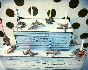 Animal Candle Holders Birthday Cake Toppers, Gold, Silver, Mini Party Animals, Circus Zoo theme
