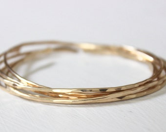 Gold Bangle, Simple Gold Stacking Bangles, 14K Gold Fill Bangles
