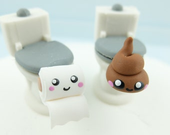 Best friends poop toilet paper roll earring studs