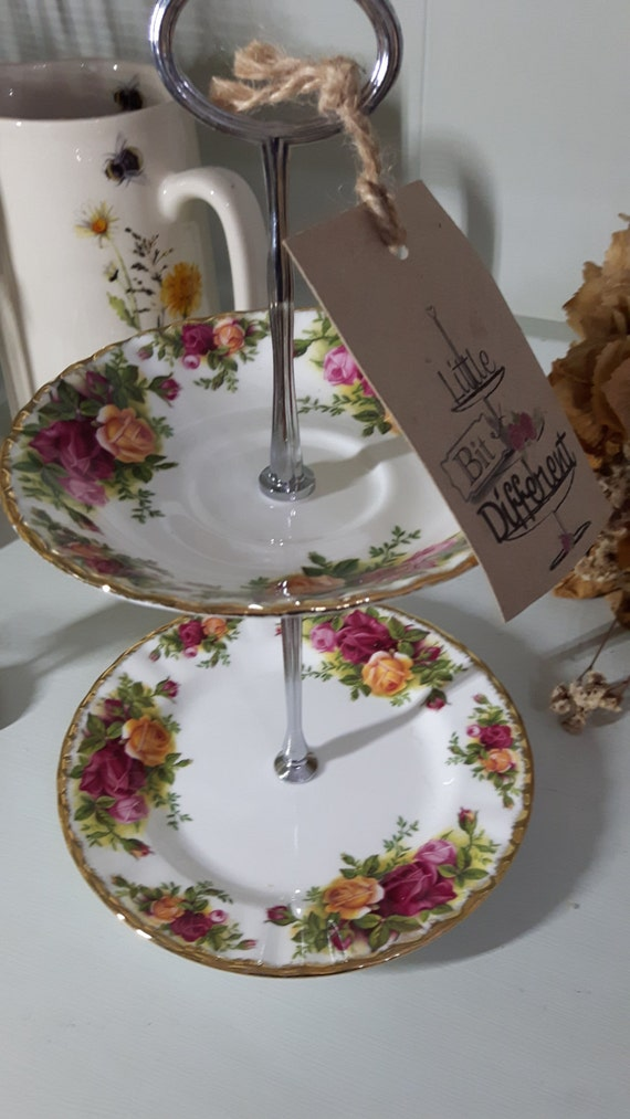 Hand made vintage china cake stand, trinket stand, gorgeous blousy English roses
