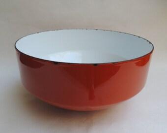 """Orange Copco Enamel 10"""" Bowl Switzerland Michael Lax Design 1970s Retro"""