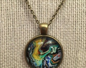 "18"" Colorful Swirls Glass Pendant Necklace"