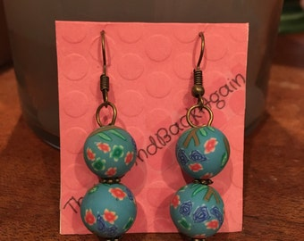 Flowers&Branches on SkyBlue Clay Bead Earrings