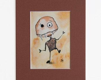 Fang Monster Art Print, Funny Illustration, Cute Monster Print, Matted 5 x 7 Print