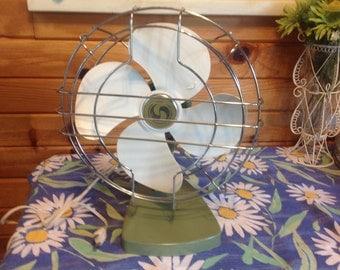 Superior Electric Fan Green and White Fan Rotating Fan Antique Electric Fan