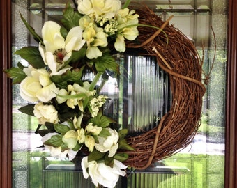 Grapevine Wreath - Spring and Summer Blooms - Year Round Wreath