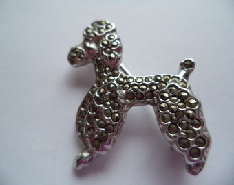 Vintage Unsigned Small Marcasite Poodle  Brooch/Pin