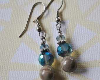 Petoskey stone nugget earrings with blue crystals, Up North, Lake Michigan