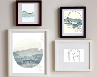 Such Great Heights Watercolor Bundle, Set of four, polygon art,abstract landscape,modern art,awakeyoursoul, blue bundle
