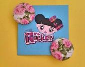 Vintage, Pink Rose Button...