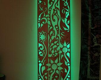 Wooden Sculpture Art, Childrens Night Light, Art Wall Hanging