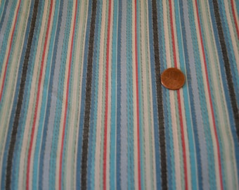 """1950's vintage light summer stripes shades of blue with red cotton dress weight fabric- 3 yards by 38"""" wide 50's East Coast Chic Resort Wear"""