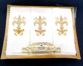 3 Hand Towels, Fingertip Towels, Boxed Set, White Gold Fleur de Lis, Saints, Fringed, Royal Terry Cotton,  Never Opened