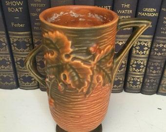 "Roseville handled amber vase 29-6"" USA  Bushberry"