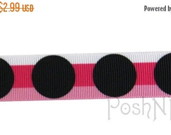 30% OFF SALE 7/8 INCH Cosmo black dippy dots Print Grosgrain Ribbon- 3 Yards