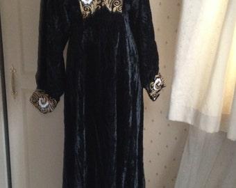 1970s AYESHA DAVAR Black Velvet Embroidery Maxi Dress  Small