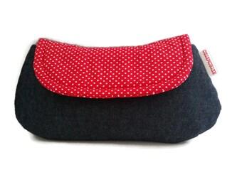 Rockabilly Clutch denim and spots Purse Bag  pinup retro greaser gal