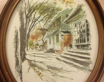 John Haymson Pair of Williamsburg Watercolor Lithographs