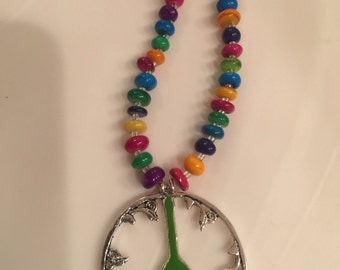 Earthy beaded peace sign necklace