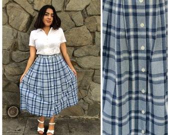 """90's button down blue and white plaid midi skirt 28"""" waist"""