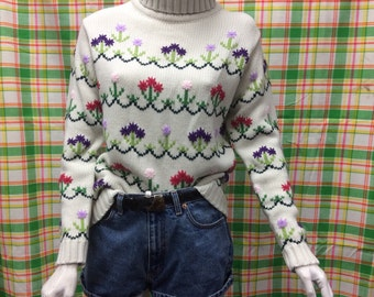 1970's Flower Power Turtle Neck + Spring + Adorable + Colorful + Love