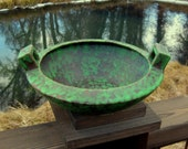 Weller Pottery Coppertone Bowl, Dish, Craftsman, Art Deco Style, Vintage 1920s, Green and Copper