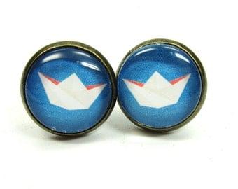 Paper boat glass cabochon earrings