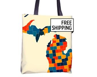 Michigan Map Tote Bag - MI Map Tote Bag 15x15