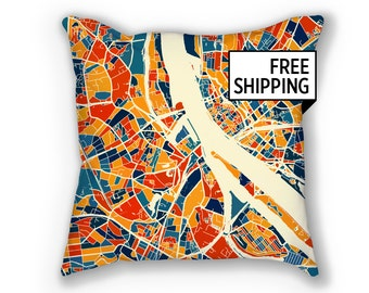 Riga Map Pillow - Latvia Map Pillow 18x18