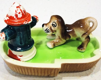 Ceramic Fire Hydrant Dog Ash Tray Vintage Home Decor Made in Japan