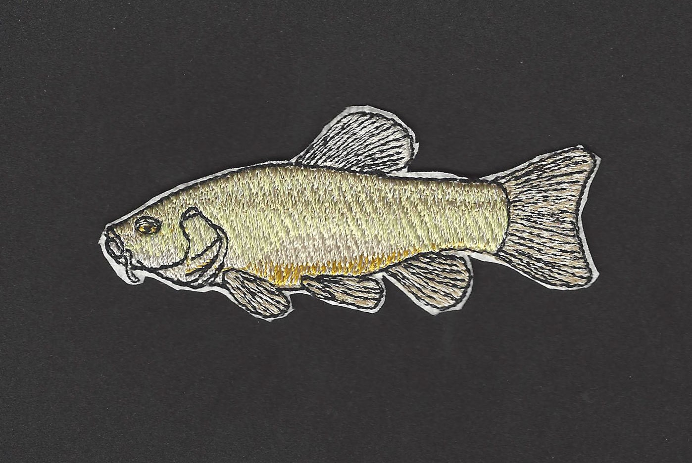 Tench fish embroidered iron on applique patch for Iron in fish