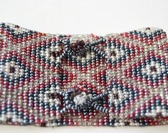 Rockery crystal bracelet with ethnic drawing. Ethnic bracelet.